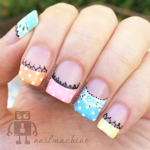 35 french nail art ideas nenuno creative adorable looking candy colored french tips you can also add lace designs below the french prinsesfo Choice Image