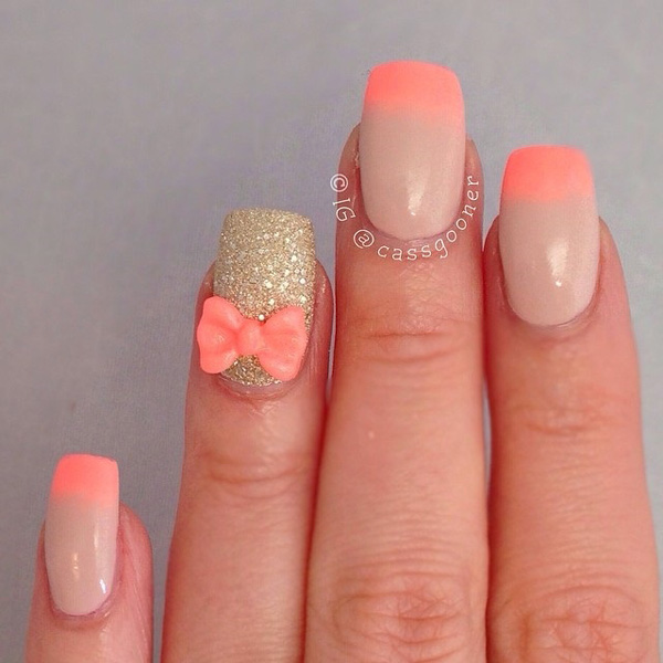 Melon Colored French Tips And Gold Glitter Nail Polish Make Your Nails Stand Out With