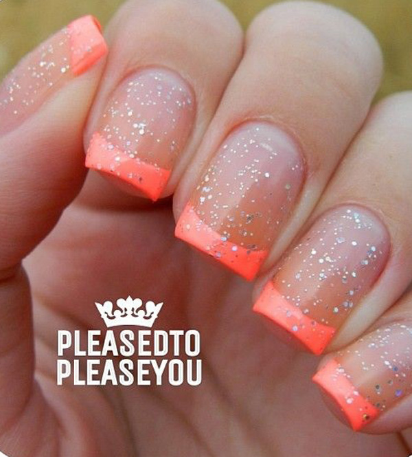 Summer Inspired French Tips Dip Your Nails Into Neon Orange And Emphasize The