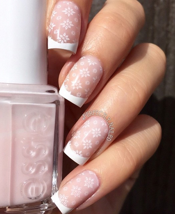 Snowflake Inspired French Tips Use White And Clear Coat To Achieve This Look After