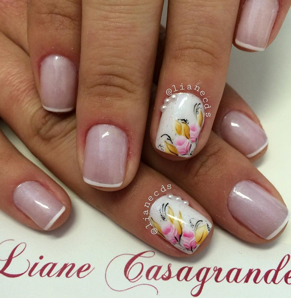 35 french nail art ideas nenuno creative white french tips and floral designs add pretty flora designs with your french tips to prinsesfo Image collections