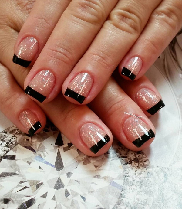 Black And Glitter French Tips Let Your Nails Look Fierce By Adding As The