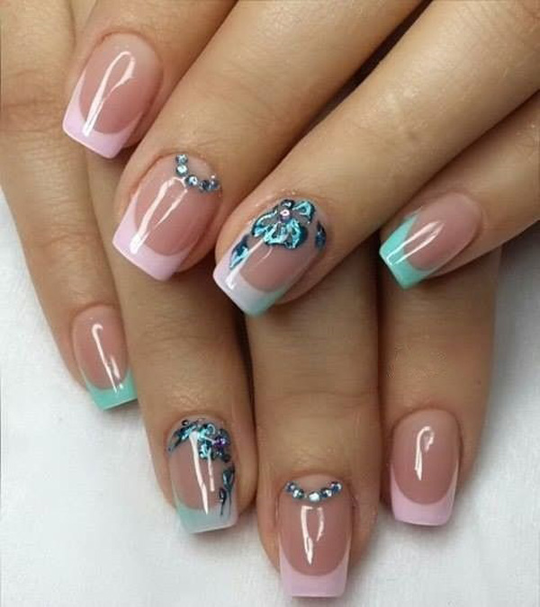 Pink and blue green French tips. Paint on attractive nail polish coats for  your French - 35 French Nail Art Ideas - Nenuno Creative