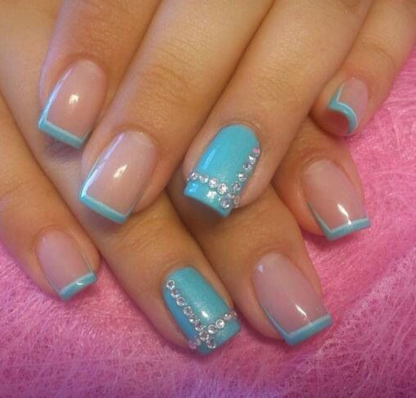 35 french nail art ideas nenuno creative aqua blue french tips add a bit of style to your french tips by adding prinsesfo Images