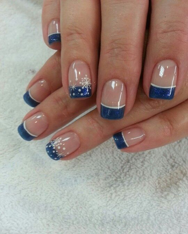 35 french nail art ideas nenuno creative midnight blue colored french tips with snowflakes in white polish use glitter polish for the prinsesfo Images