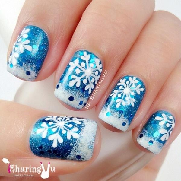Snowflake Nail Art14