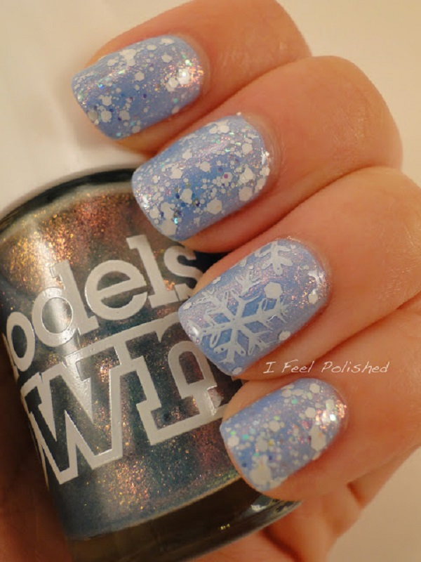 35 snowflake nail art ideas nenuno creative baby blue and white snowflakes nail art design make your nails have that heavenly feel prinsesfo Image collections