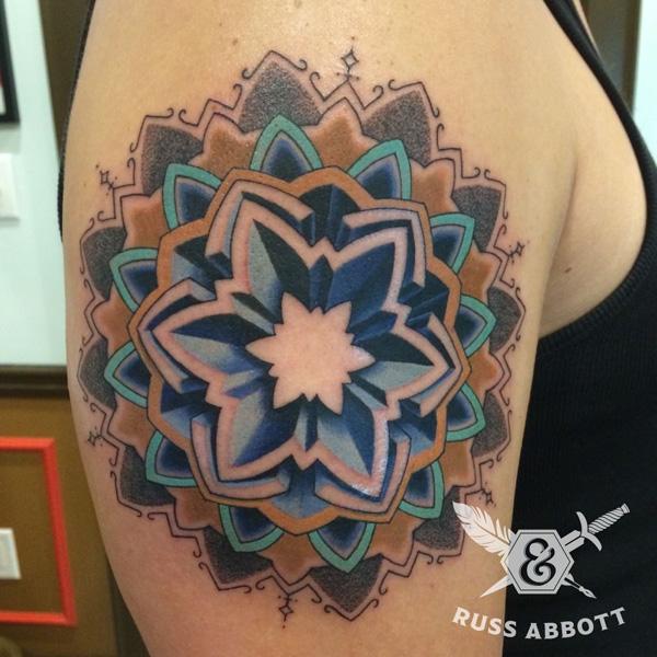 Colored mandala tattoo-29