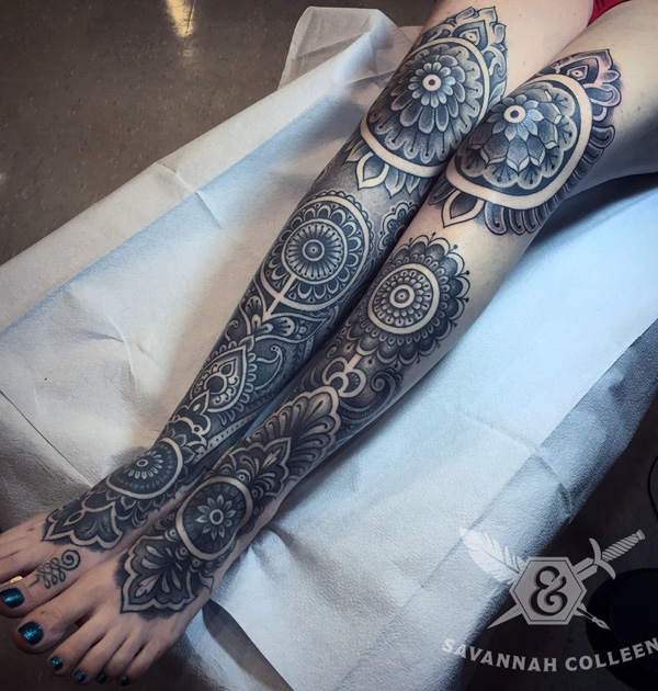 Cool mandala leg tattoo-30