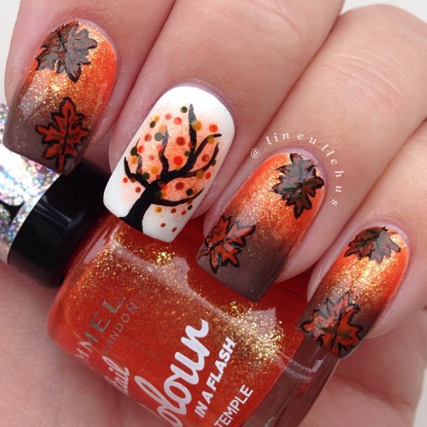 Pretty leaf nail art design in orange and brown color combination. Mix up  the shades - 35 Leaf Nail Art Ideas - Nenuno Creative