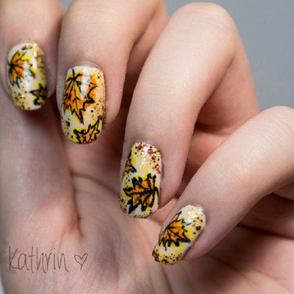 Leaves Nail Art 13