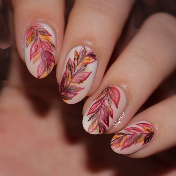 Wonderful looking leaf nail art design. You can always amp up the leaves  when you - 35 Leaf Nail Art Ideas - Nenuno Creative