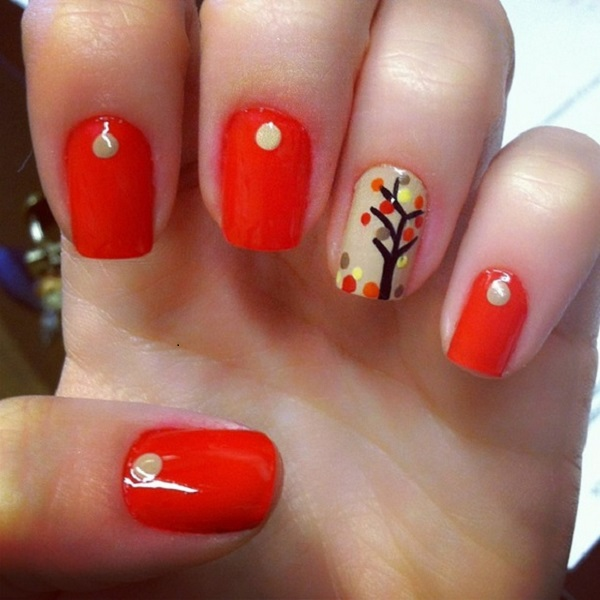 A really cute and simple polka dot inspired leaf nail art design. Paint  your nails - 35 Leaf Nail Art Ideas - Nenuno Creative