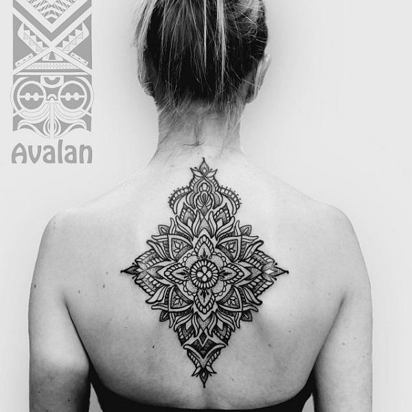 Mandala back tattoo for women-38