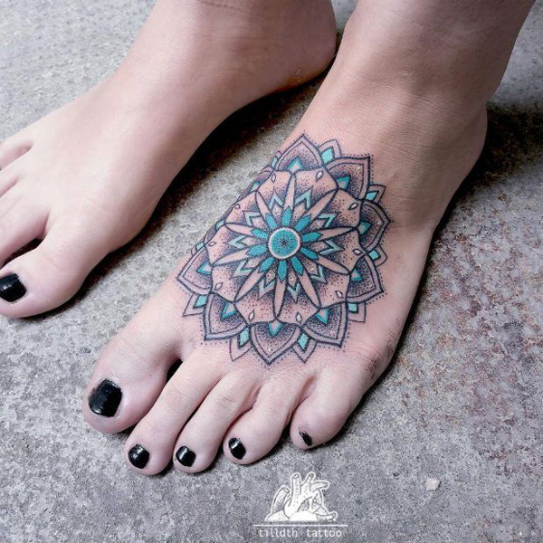 Mandala foot tattoo-16