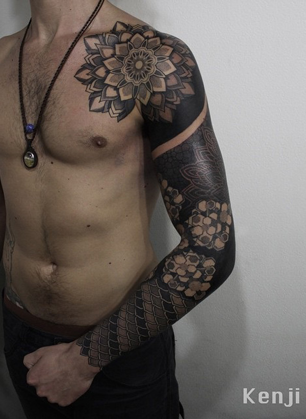 Mandala full sleeve tattoo for man-13