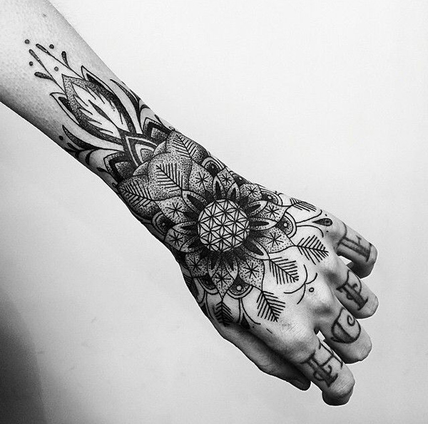Mandala hand tattoo-20