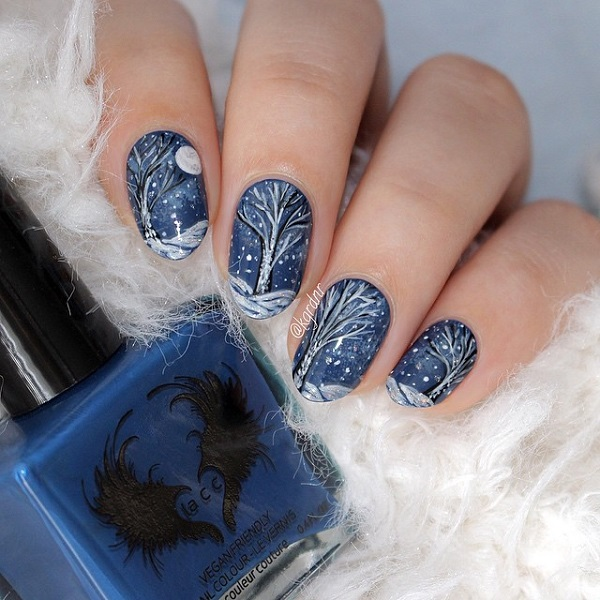 35 pretty winter nail designs nenuno creative a magical looking winter nails art design painted in midnight blue base color the prinsesfo Gallery