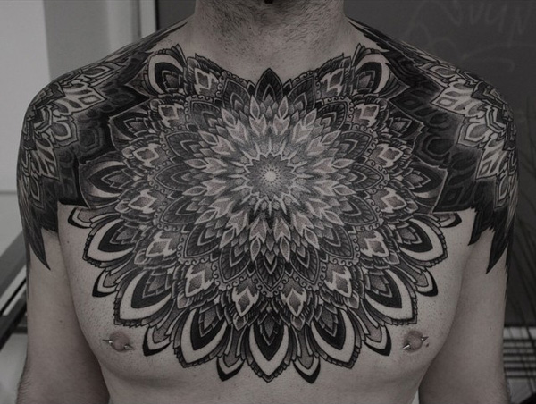 mandala chest tattoo-12