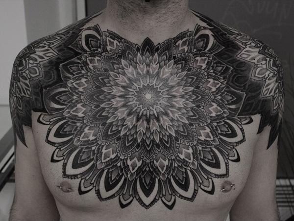 mandala chest tattoo-12