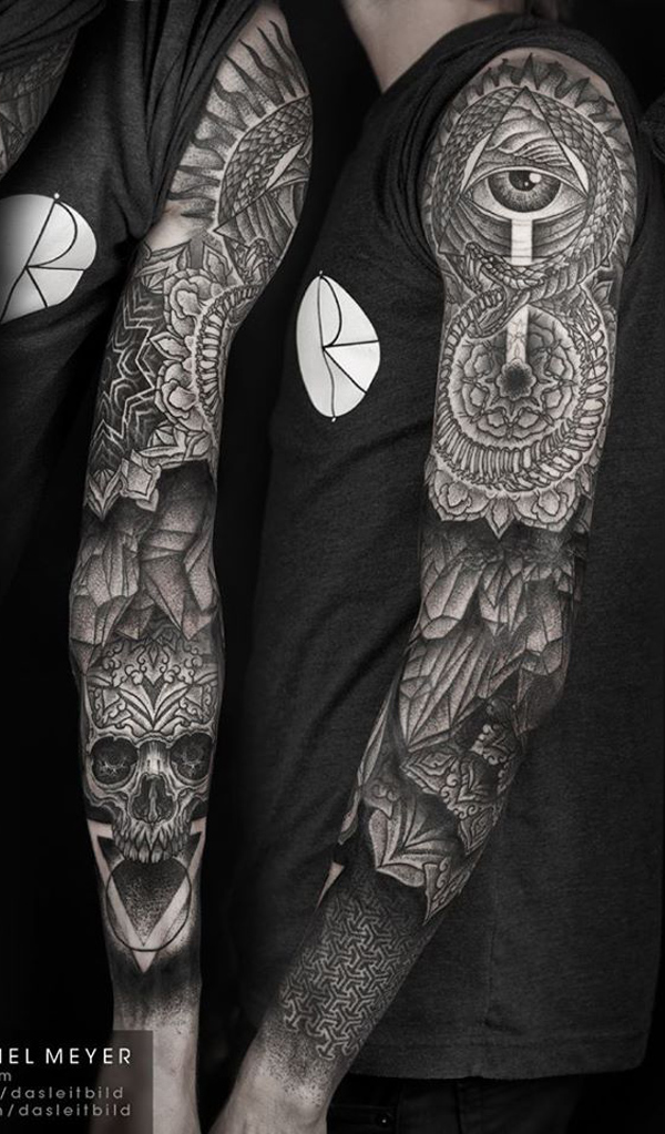 mandala with skull full sleeve tattoo for men -6