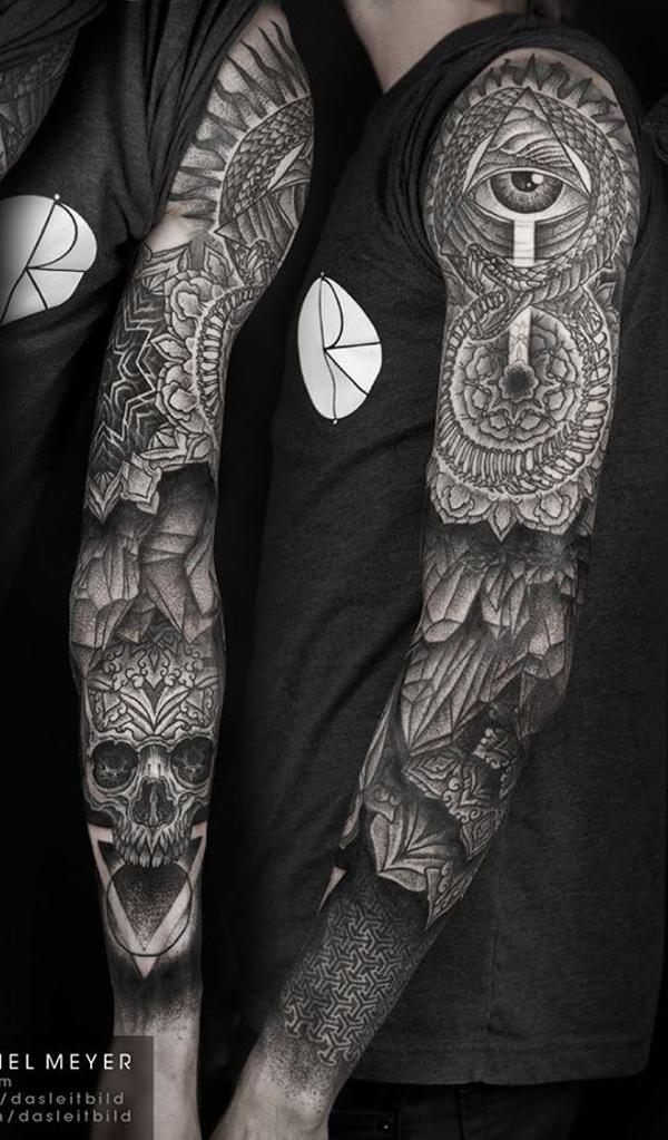 mandala with skull full sleeve tattoo for men -6