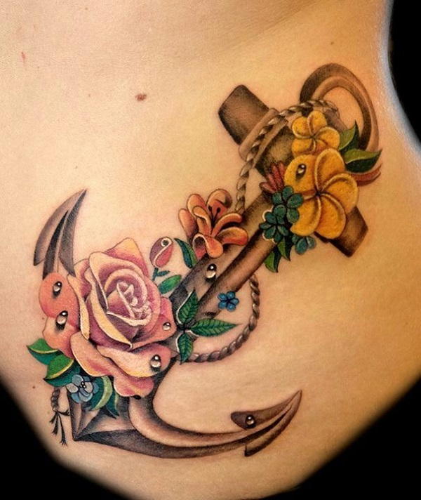Anchor with flower tattoo
