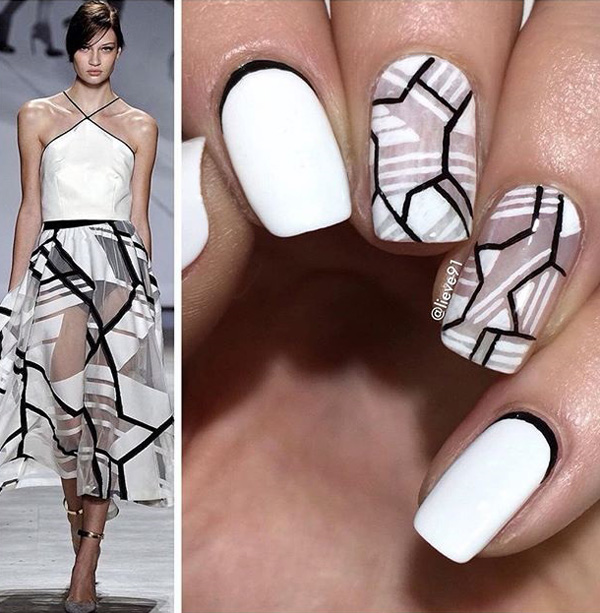 Mosaic inspired spring nail art design. The light beige and gray colors help make the nail art design laid back while the bold black lines separating the tiles help bring out life to the design.