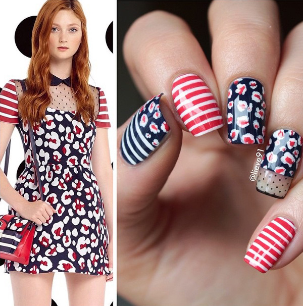 Stripes and prints spring nail art design. Play along with the red, blue and white colors using this design since spring is the season of coming out to play this look will looks absolutely on point.
