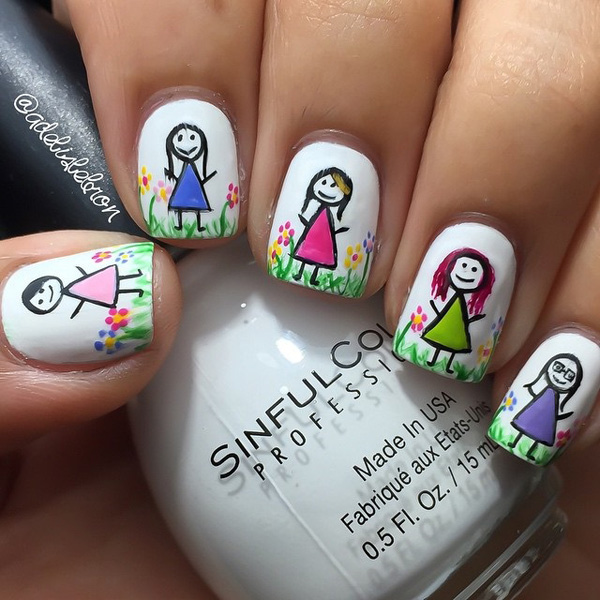 Cute and quirky spring nail art design. Start making your nails your very own canvass for art. Get to draw pretty little girls on each nail with a background of a wide field of spring flowers.