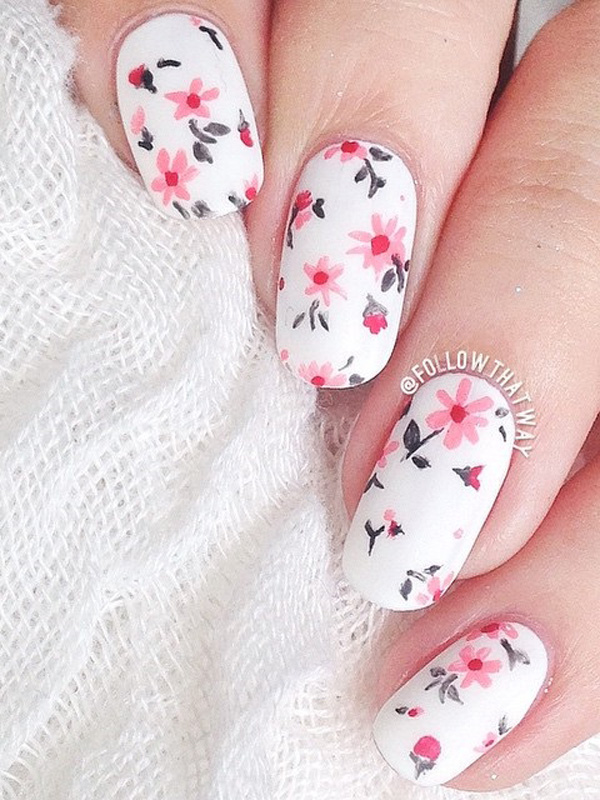 50 lovely spring nail art ideas nenuno creative give your nails a bright spring feel with this flower inspired nail art design the mightylinksfo