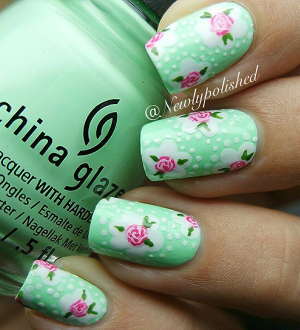 Pink roses on a sea green polka dot base color. A wonderful looking spring nail art design that you can paint when you want your nails to bloom along with the spring flowers.