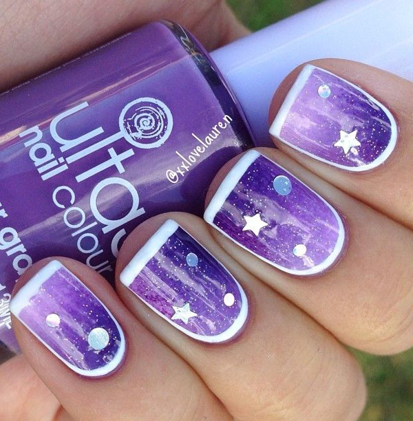 Purple and white star nails