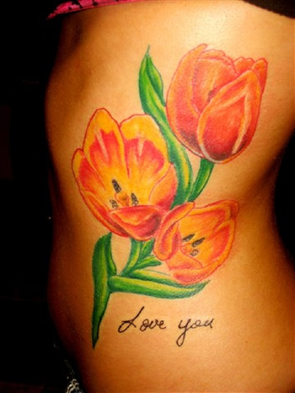 5f69c4a73 A group of orange tulips tattoo. Another bouquet of tulips in pretty colors  with the