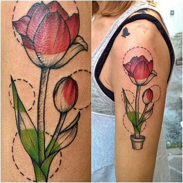 f89cf90ef Another beautiful red tulips tattoo design. This design is creatively made  with the tulips on