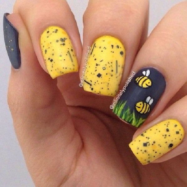 Yellow Nail Art 16