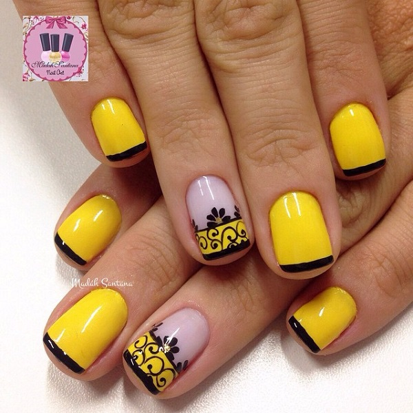 yellow nail art-7