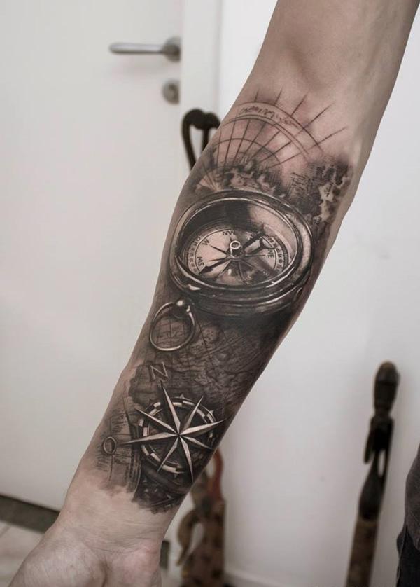 3D compass sleeve tattoo-55