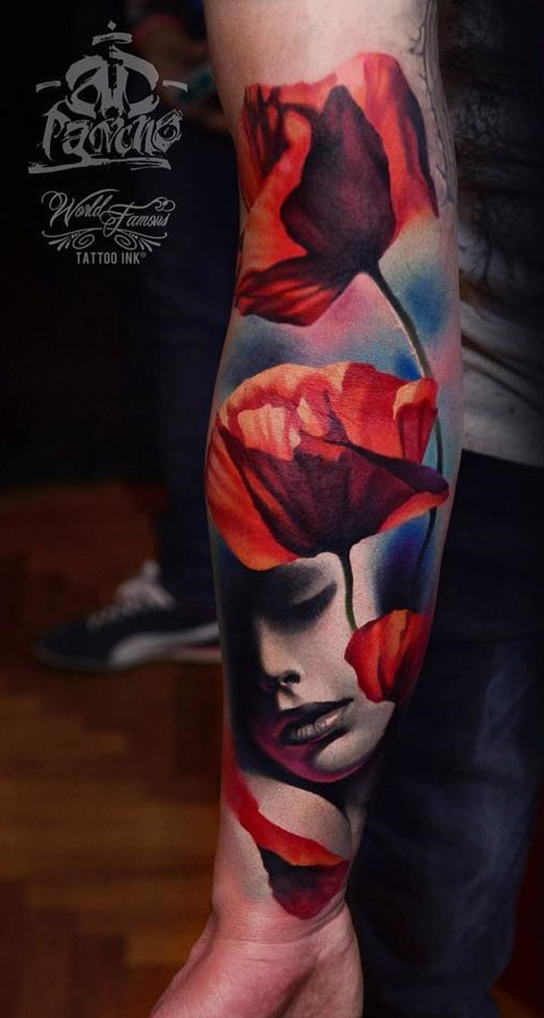 3D poppy with portrait sleeve tattoo-58