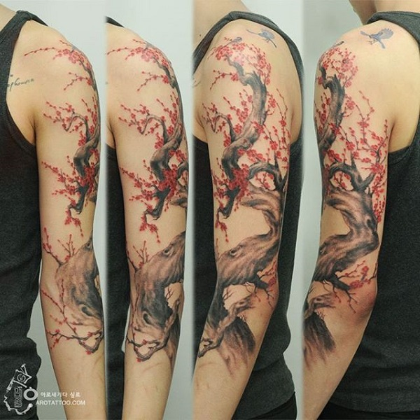 40 beautiful cherry blossom tattoos nenuno creative. Black Bedroom Furniture Sets. Home Design Ideas