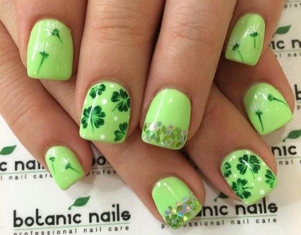 Four Leaf Clover Nail Art 2