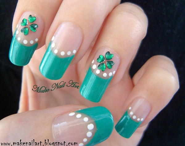 30 four leaf clover nail art ideas nenuno creative go with green power with this four leaf clover inspired nail art design give that prinsesfo Choice Image