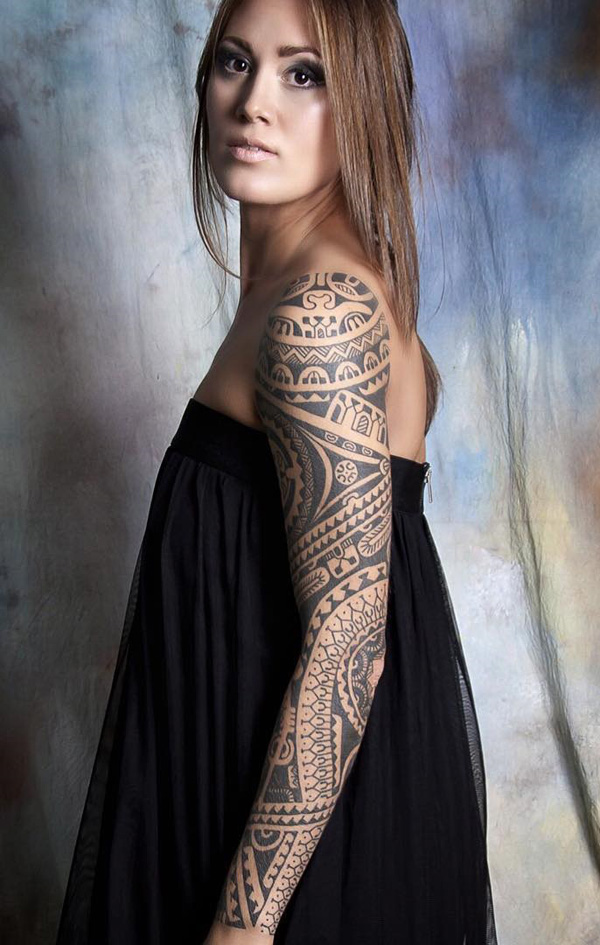 Tribe sleeve tattoo for women-12