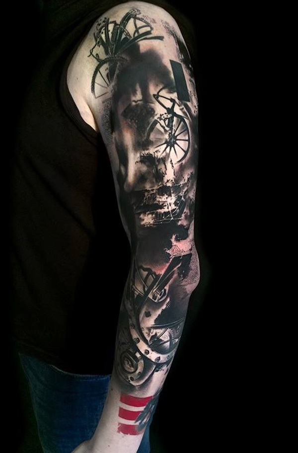 81291313deac2 Great looking Trash Polka sleeve tattoo by Simone Pfaff and Volko Merschky.  The awesome combination