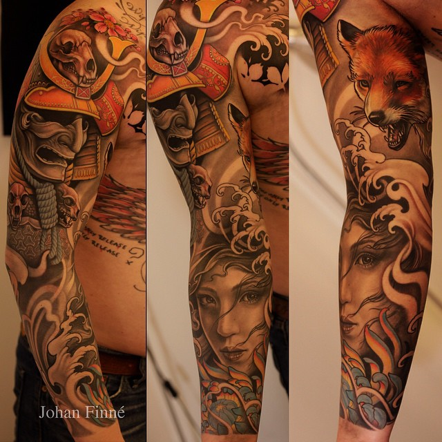 9dcbe465f Johan Finne's sleeve tattoo design. Filled with warm colors the design  seems to show a