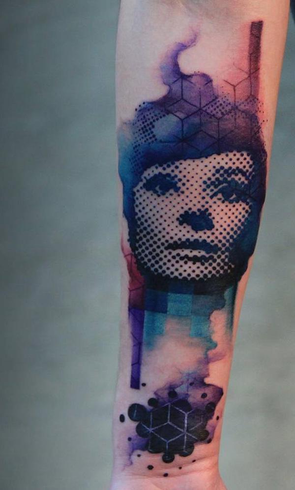 watercolor portrait sleeve tattoo-3