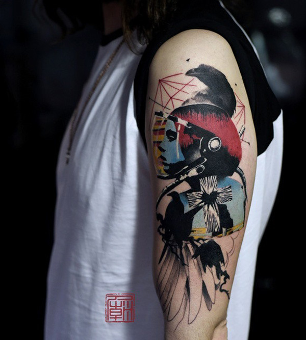 watercolor sleeve tattoo-37