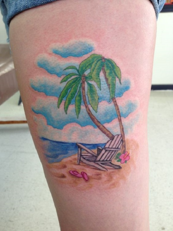 dab3c0305f9a8 A cute looking beach tattoo on the arm. The colors are all light and  pleasing