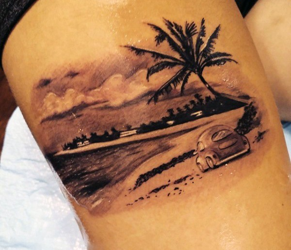 7638a108f A small and cute looking beach tattoo. The design shows a small car parked  in