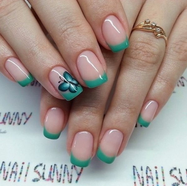 25 butterfly nail art ideas nenuno creative wonderful looking blue green themed butterfly nail art design the french tips in this color prinsesfo Image collections